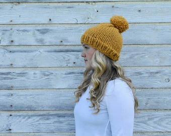 Knit Hat, Chunky Hat, Pom Pom Hat + The Everett Hat + MUSTARD + Made with a Pom Pom