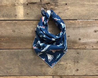 Fishing Boats Sailboats Blue Tie On Dog Bandana