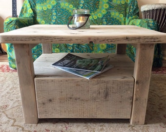Wooden reclaimed wood coffee table rustic chunky