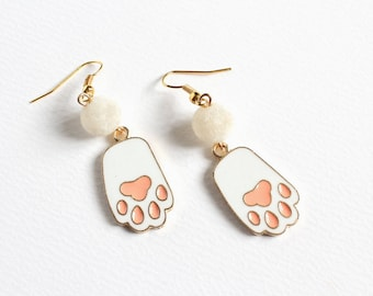 White Cat Paw Earrings
