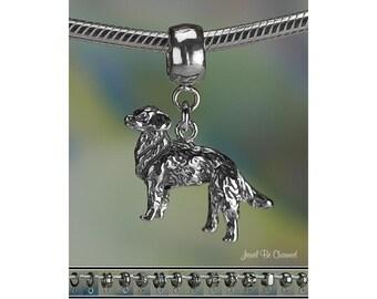 Golden Retriever Charm or European Charm Bracelet .925 Sterling Silver