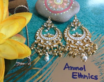 Beautiful White Kundan Chand Bali Earring