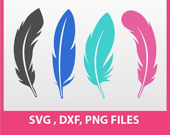 """Feather Clip Art, Feather SVG, DXF, PNG Formats,  8.5x11"""" sheet,  Printable, Instant download 0011"""