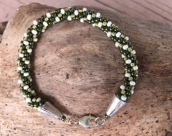 St. Patricks's Day Green Kumihimo Bracelet | Green Bracelet St Paddy's Day Gift Green Jewelry Ladies Jewelry Women's Jewelery Spring
