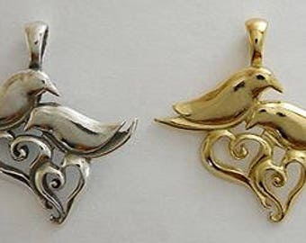 dove charm pendant hearts freeform landing gliding bird in a tree sterling silver gold vermeil FREE SHIP