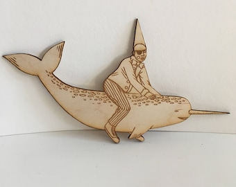 Clown Narwhal wooden figurine