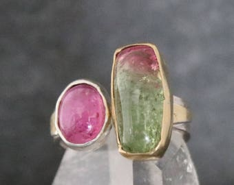 Tourmaline Two Stone Ring, Pink & Watermelon Tourmaline Multistone Ring, 14kt Gold, Sterling Silver, Ran Armstrong Gemstone Ring Size 7.75