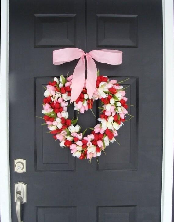 Valentine's Day Wreath Red Tulip Valentines Day Decor Red Hearth Wreath Wedding Decor Spring Wreath I Love You