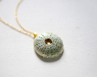 Uni Necklace - Turquoise Sea Urchin 22k Gold - Porcelain Jewelry, Wedding Jewelry - Porcelain Necklace - white gold
