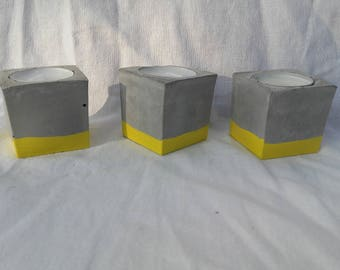 Candlestick concrete cube yellow