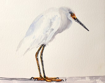 Egret bird painting original watercolor  Snowy Egret by Betty Moore