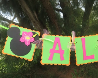 """Minnie Mouse Luau (Hibiscus) - """"Aloha"""" banner - Orange, Lime Green, and Bright Pink"""