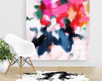 Essi, 6x6-44x44in, Extra Large Abstract Fine Art Print, abstract print, blue abstract, pink abstract, canvas