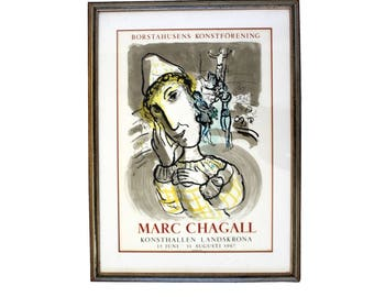 Mid Century Modern Vintage Framed Marc Chagall Poster Lithograph 1967