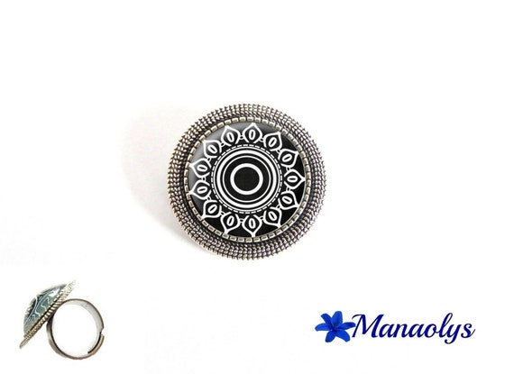 ring adjustable antique silver round, black and white patterns, flower, geometric patterns, 20 glass cabochons