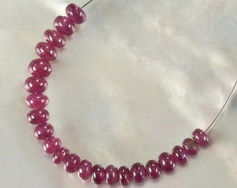 Red RUBY Madagascar 2.00 inch Strand Smooth Rondelle Gemstone Beads 6.9 ct