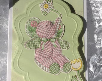 Little Child Card, Quilt-Like Pink and Green Elephant, Birthday, Happy Day, Love You Handmade Card