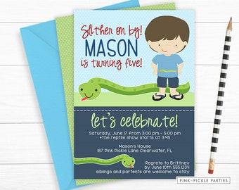 Snake Invitation, Snake Invite, Snake Party, Snake Birthday, Reptile Invitation, Reptile Party, Reptile Invite, Reptile Birthday, Snake 187
