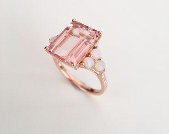 5 Carat Morganite Engagement Ring Pink Stone Engagement Ring Pink Stone Ring Morganite Opal Ring Morganite Baguette Ring