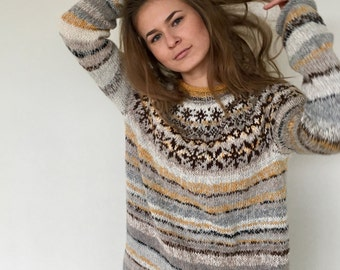 Icelandic sweater Fair Isle sweater Women's sweater Alpaca sweater  Oversized sweater Plus size sweater Hand knit sweater Made to order