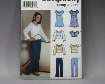 Simplicity 7786, Girls, Dress, Pants, Crop Top, Tunic, Cap Sleeve, Long, Sleeve, Gathered Neckline, Sizes 10 – 16, Easy, Sewing, Pattern