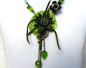 Green Flower Necklace Casual Party Jewellery