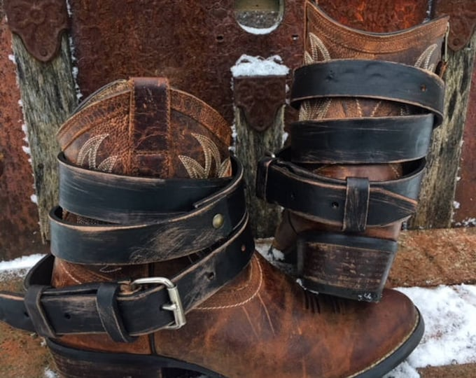 Distressed Black OLD WEST Vintage Genuine Leather Adjustable Layered Boot Belts - One Pair, Made to Order