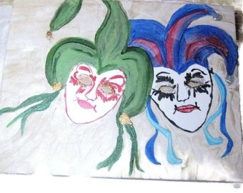 Court Jester Mixed Media Painting, Jester Painting, Clown Face Painting