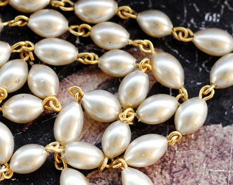 Vintage Beaded Chain with White Glass Rice Pearls, Pearl Beaded Chain, Gold Plated Pearl Rosary Chain, (B1-R3-C1), Sold by the Linear Foot