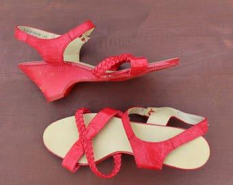 Vintage red sandals Soviet vintage sandals Vintage footwear Vintage womens sandals Soviet summer shoes Vintage shoes Vintage womens footwear