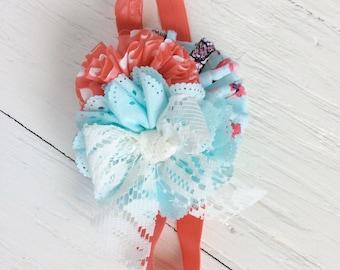 Coral aqua headband baby girl headband toddler headband persnickety m2m headband matilda jane headband shabby chic headband newborn