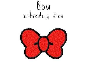 Bow EMBROIDERY MACHINE FILES pattern design hus jef pes dst all formats halloween kawaii Instant Download digital applique cute
