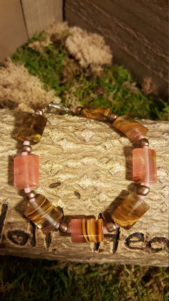 Hand Made Pink Brown Stone Women Bracelet Multiple Color Beaded