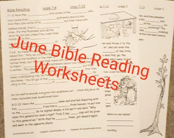 June Bible Reading Worksheets