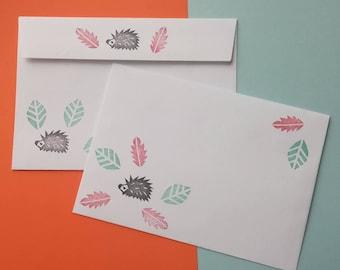 Set of 10 envelopes, hedgehog envelopes, autumn envelopes, envelopes, envelope, leaves envelope, woodland envelopes, invitations, forest