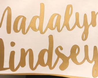 gold calligraphy custom name vinyl sticker