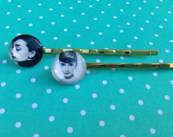 Accessories, Hair Accessories, Hair Pins, Bobby Pins, Audrey Hepburn, Cabochon Hair Pins, Hair Accessories