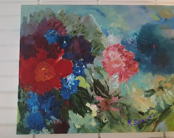 Joyful Flowers, Floral Oil Painting, Impressionism, Red Blue Green, Cheerful Art, Original Flower Painting, 30,23, KSonya, Fromglentoglen