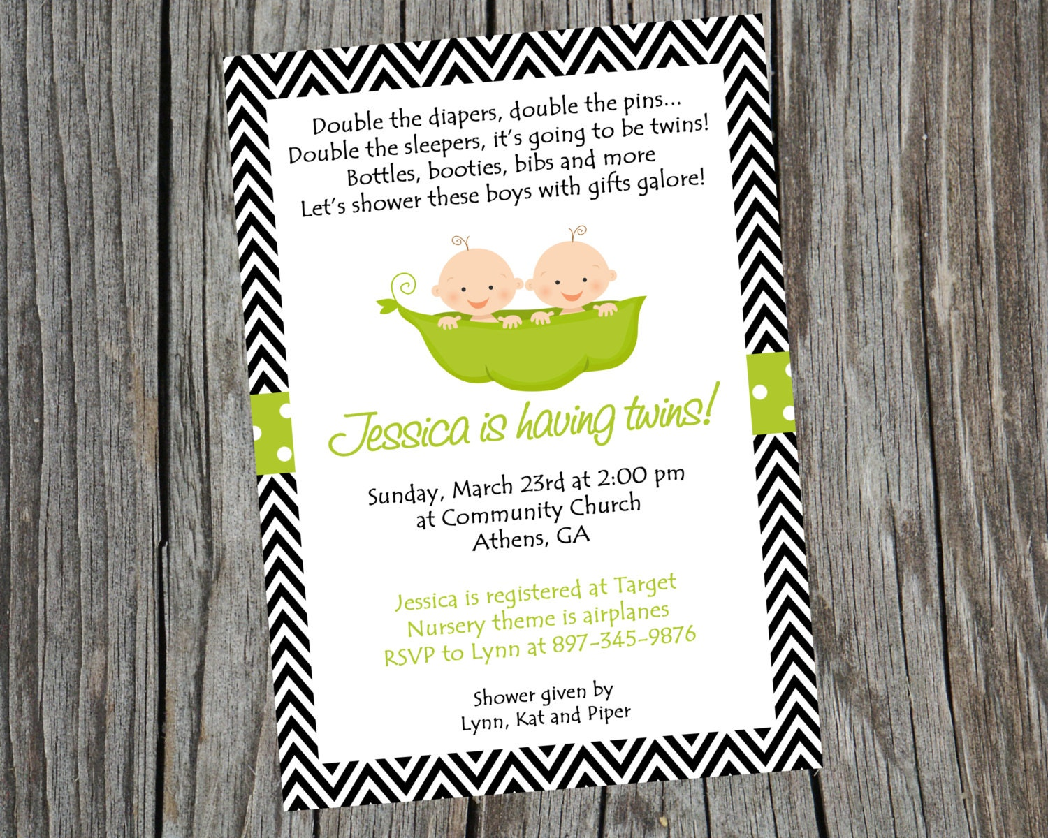Twins Invite. Two Peas In A Pod Invitation. Twins Baby Shower