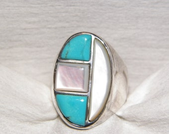 Vintage Native American Mother Of Pearl And Turquoise Ring