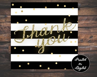 Favor Tags, Black White Favor Tags, Thank You Tags, Gold White Black Tags, Bridal Shower Tags