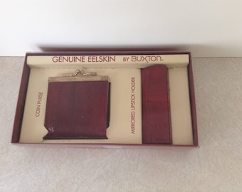 Buxton Genuine Eelskin Coin Purse And Lipstick Holder