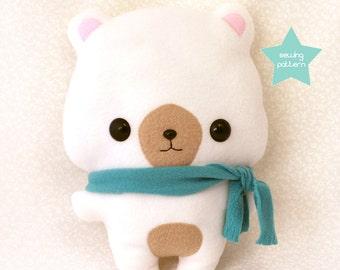 "PDF sewing pattern - Cute Bear stuffed animal - easy beginner plush toy kawaii DIY anime character 13"" TeacupLion"