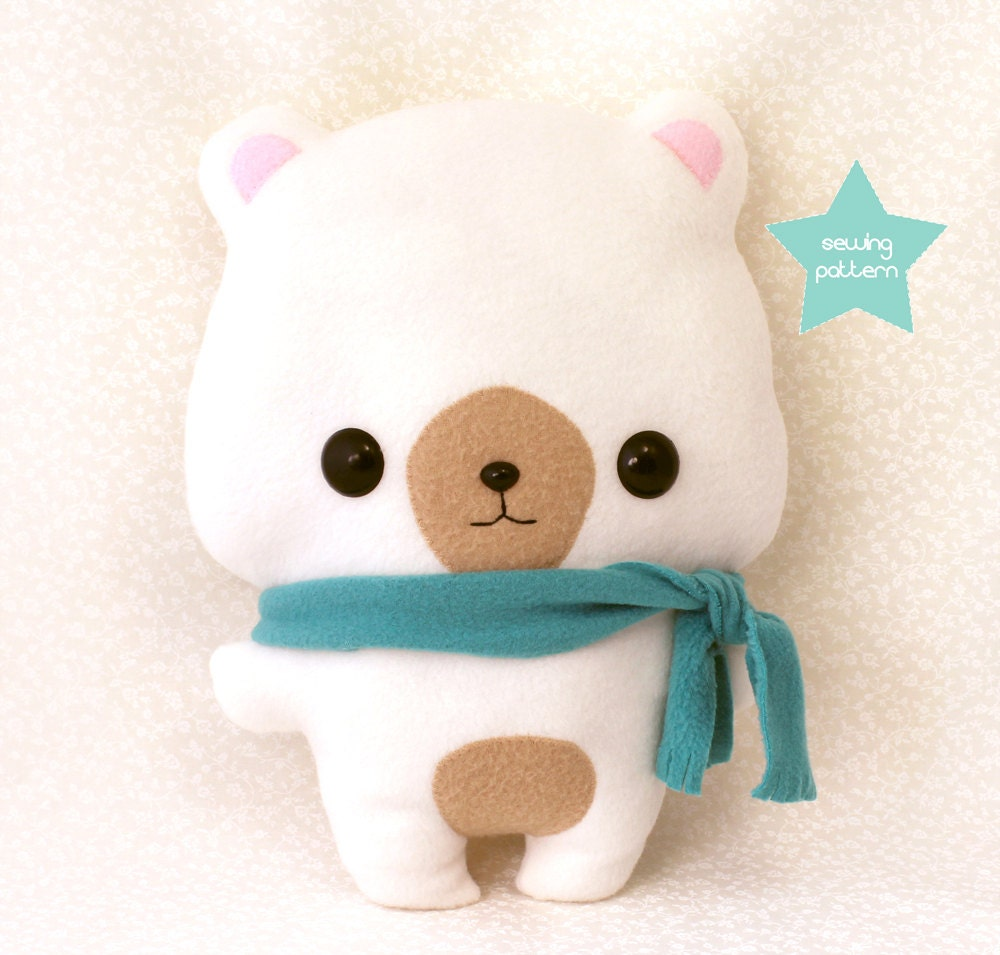 PDF sewing pattern - Cute Bear stuffed animal - easy ...