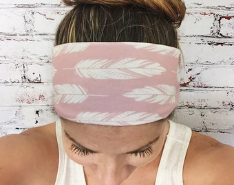 Feathers - Soft Rose - Eco Friendly Yoga Headband