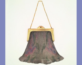 Art Deco Whiting and Davis Dresden Mesh Purse with Gold Clasp and Chain, Flapper, Green, Pink, and Blue Enamel