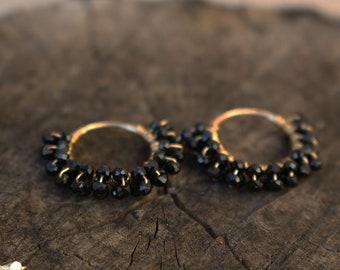 Black spinel 14K gold filled endless hoop earrings gift ideas under 40