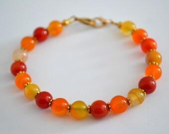 Carnelian jewelry, Carnelian bracelet, Beaded carnelian bracelet, Genuine carnelian bracelet, Carnelian gift, Buy one get one free.