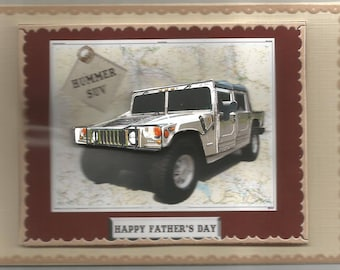 Card means of transportation in 3d, handmade, 4 x 4 class jepp - birthday, father's day, men, vehicles, 4 x 4, jeep off-road