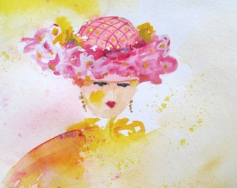 Original Watercolor Painting With Crystals * LADY In PINK HAT *  Small Art Format By Rodriguez
